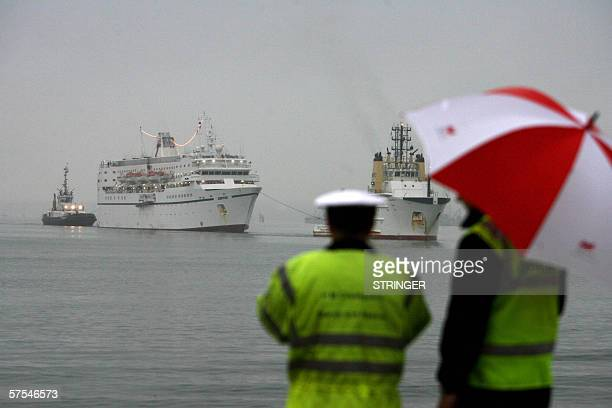 The Calypso cruise ship is see being towed into Southampton water by the MCA Coastguard after an engine fire crippled the ship Southampton 6 May 2006...