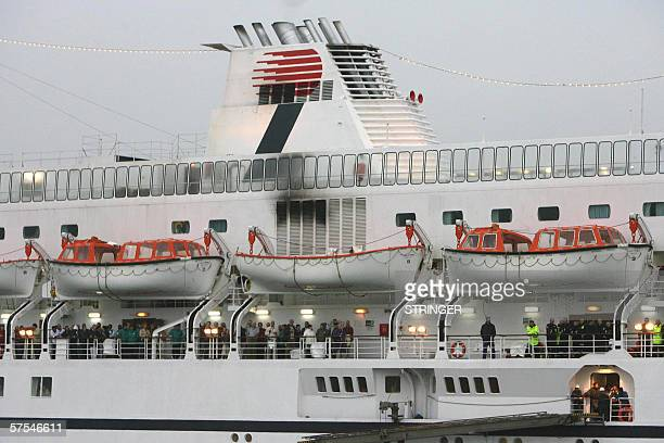 The Calypso cruise ship is towed into the Southampton water by the MCA Coastguard after an engine fire crippled the ship 06 May 2006 The ship with...