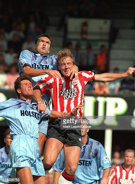 Southampton v Tottenham Hotspur Kerry Dixon is outnumbered by Tottenham defenders Terry Fenwick and Neil Ruddock on the first day of the new Premier...