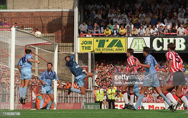 Southampton v Tottenham Hotspur Tottenham goalkeeper Ian Walker is beaten but Paul Allen heads the ball off the goal line at The Dell on the first...