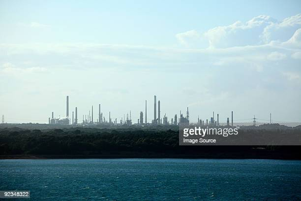 southampton water and fawley oil refinery - southampton water stock photos and pictures