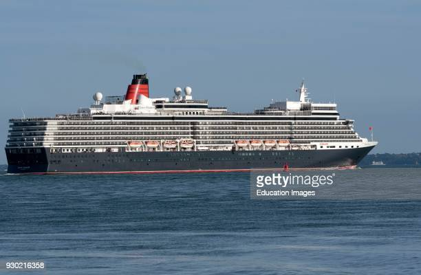 Southampton Water southern England UK Cruise ship Queen Elizabeth underway having departed the Port of Southampton