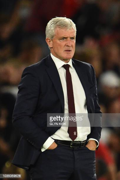 Southampton Welsh manager Mark Hughes gestures during the English Premier League football match between Southampton and Brighton at St Mary's Stadium...