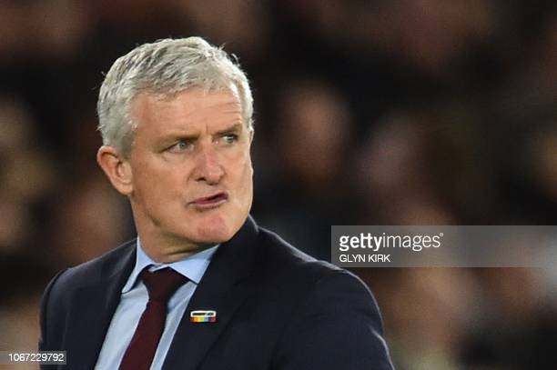 Southampton Welsh manager Mark Hughes reacts during the English Premier League football match between Southampton and Manchester United at St Mary's...