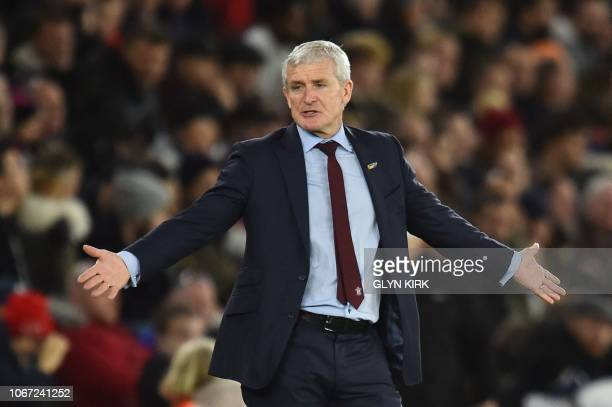 Southampton Welsh manager Mark Hughes reacts on the touchline during the English Premier League football match between Southampton and Manchester...