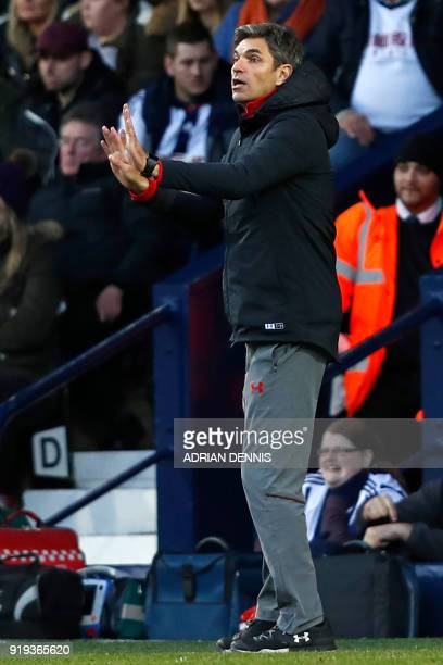 Southampton's Argentinian manager Mauricio Pellegrino gestures on the touchline during the English FA Cup fifth round football match between West...