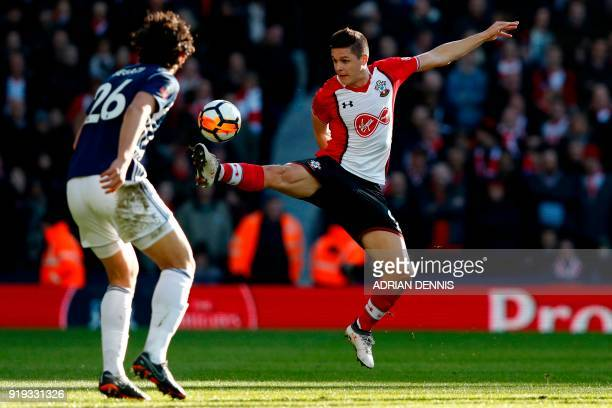 Southampton's Argentinian striker Guido Carrillo controls the ball during the English FA Cup fifth round football match between West Bromwich Albion...