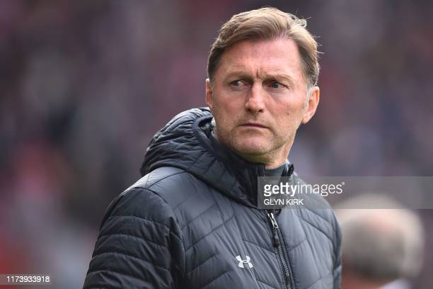 Southampton's Austrian manager Ralph Hasenhuttl awaits kick off in the English Premier League football match between Southampton and Chelsea at St...