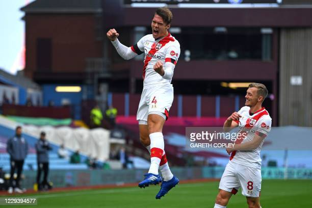 Southampton's Danish defender Jannik Vestergaard celebrates after scoring the opening goal of the English Premier League football match between Aston...