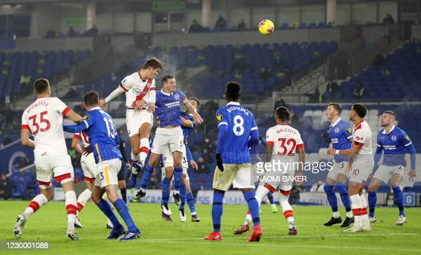 Southampton's Danish defender Jannik Vestergaard jumps to head the ball to score his team's first goal to equalise during the English Premier League...