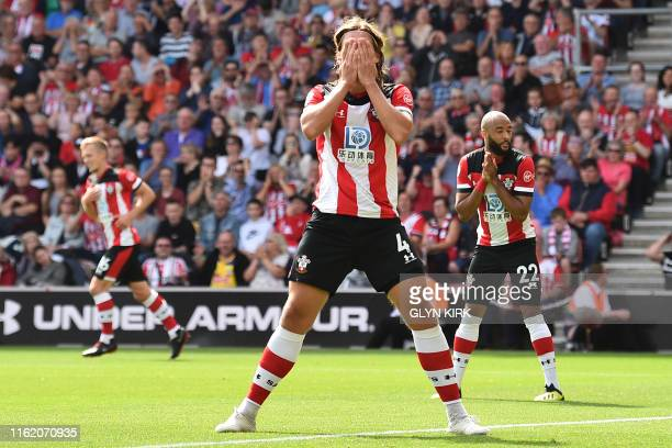 Southampton's Danish defender Jannik Vestergaard reacts to a missed chance during the English Premier League football match between Southampton and...