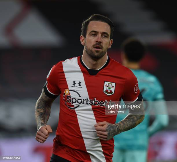 Southampton's Danny Ings celebrates after scoring the first goal during the Premier League match between Southampton and Liverpool at St Mary's...