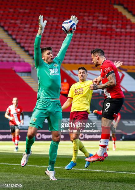 Southampton's Danny Ings heads past Burnley's Nick Pope but it was cleared off the line during the Premier League match between Southampton and...