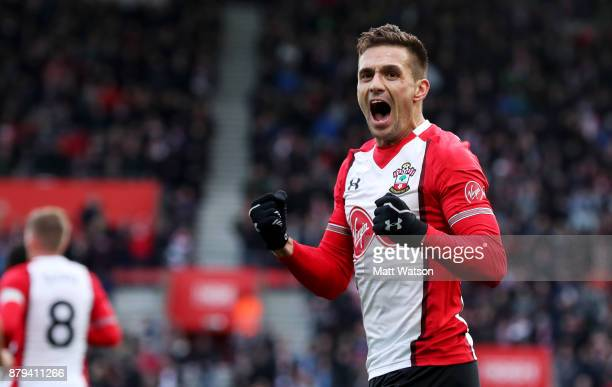 Southampton's Dusan Tadic celebrates after scoring the opening goal during the Premier League match between Southampton and Everton at St Mary's...