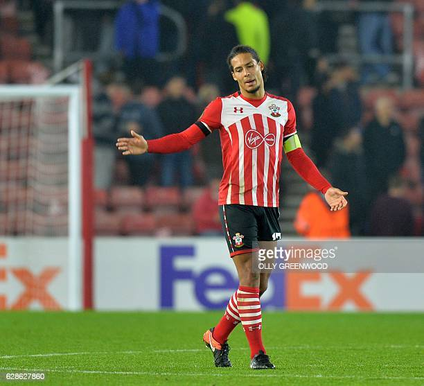 Southampton's Dutch defender Virgil van Dijk reacts after the UEFA Europa League group K football match between Southampton and Hapoel Beer Sheva at...
