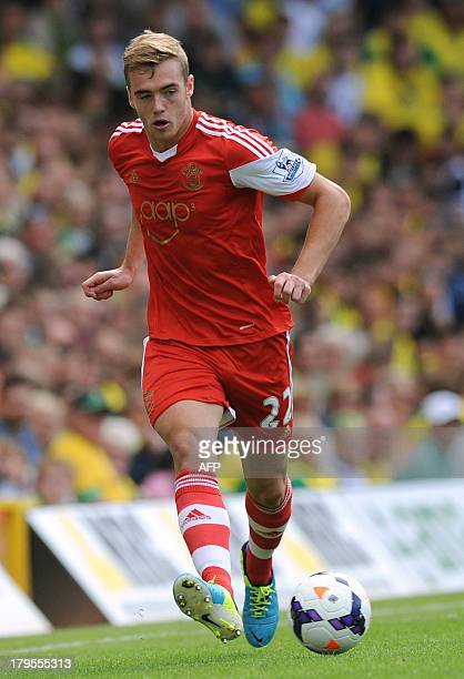 Southampton's English defender Calum Chambers controls the ball during the English Premier League football match between Norwich City and Southampton...