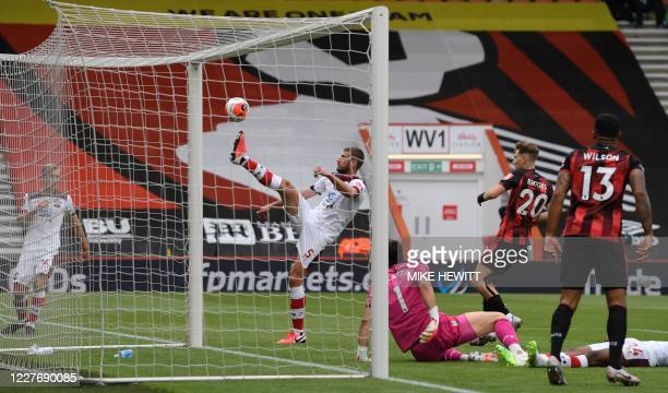 Southampton's English defender Jack Stephens clear the ball out of the goal during the English Premier League football match between Bournemouth and...