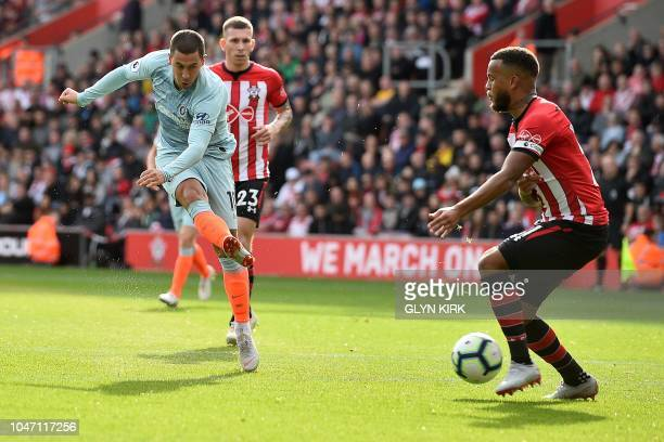 Southampton's English defender Ryan Bertrand blocks a shot from Chelsea's Belgian midfielder Eden Hazard during the English Premier League football...