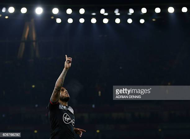 Southampton's English defender Ryan Bertrand celebrates scoring his team's second goal during the EFL Cup quarterfinal football match between Arsenal...