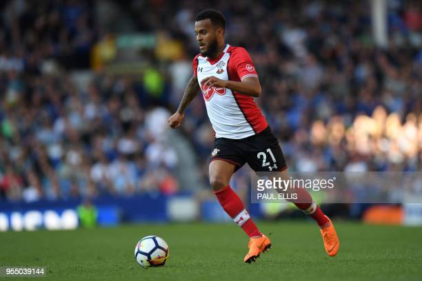 Southampton's English defender Ryan Bertrand controls the ball during the English Premier League football match between Everton and Southampton at...