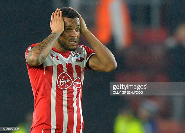 Southampton's English defender Ryan Bertrand reacts after the UEFA Europa League group K football match between Southampton and Hapoel Beer Sheva at...