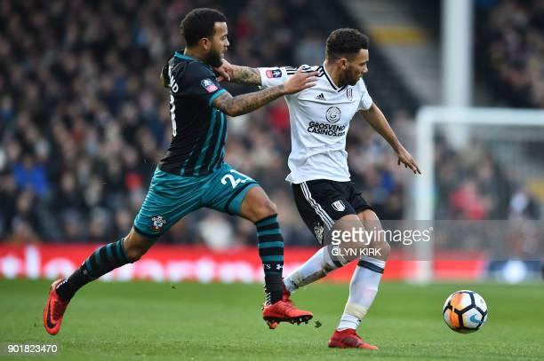Southampton's English defender Ryan Bertrand vies with Fulham's English defender Ryan Fredericks during the English FA Cup third round football match...