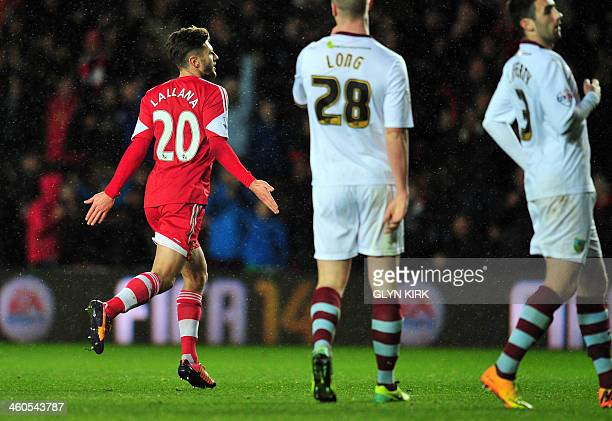 Southampton's English midfielder Adam Lallana celebrates during the English FA cup third round football match between Southampton and Burnley at St...