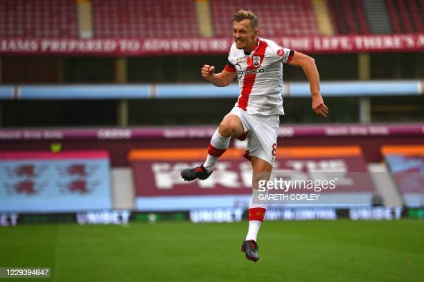 Southampton's English midfielder James Ward-Prowse celebrates after scoring their second goal during the English Premier League football match...
