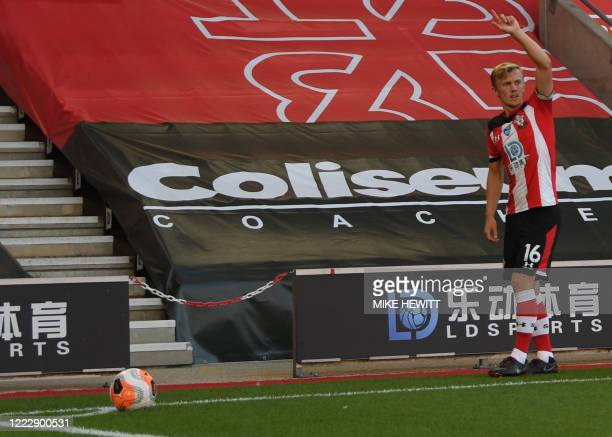 Southampton's English midfielder James Ward-Prowse takes a corner during the English Premier League football match between Southampton and Arsenal at...