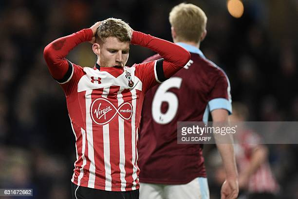 Southampton's English midfielder Josh Sims reacts after missing a chance during the English Premier League football match between Burnley and...