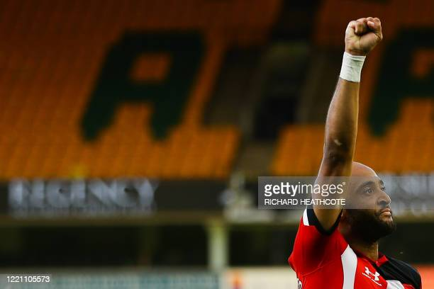 Southampton's English midfielder Nathan Redmond celebrates after scoring a goal during the English Premier League football match between Norwich City...