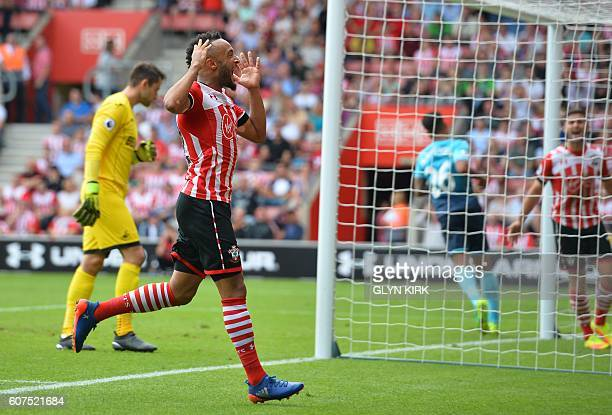Southampton's English midfielder Nathan Redmond misses a shot on goal during the English Premier League football match between Southampton and...