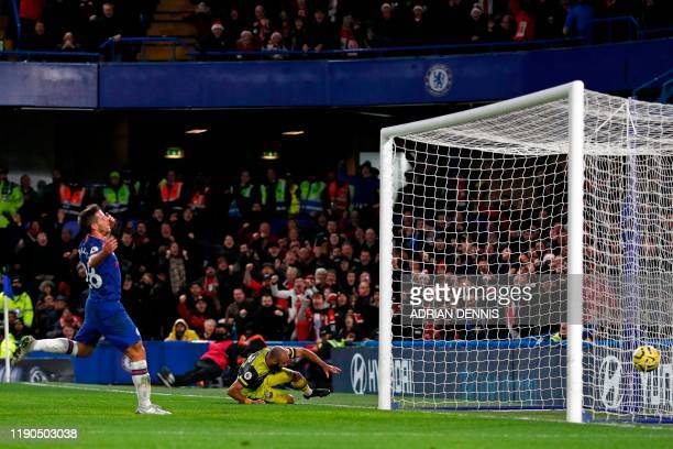 TOPSHOT Southampton's English midfielder Nathan Redmond sees his shot hit the back of the Chelsea net for their second goal during the English...