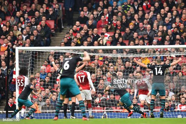 Southampton's English striker Charlie Austin celebrates scoring the team's second goal during the English Premier League football match between...