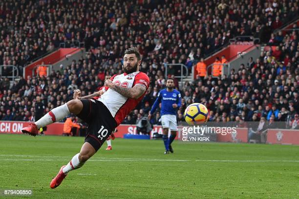 Southampton's English striker Charlie Austin misses with another early shot during the English Premier League football match between Southampton and...