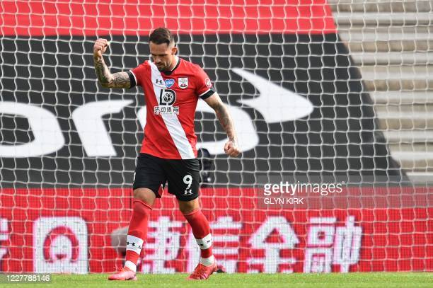 Southampton's English striker Danny Ings celebrates after scoring a penalty during the English Premier League football match between Southampton and...
