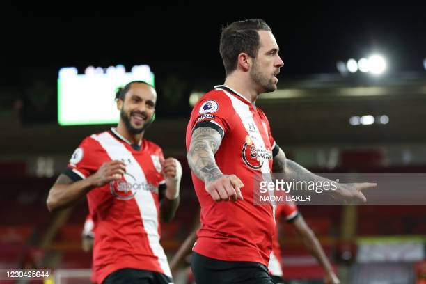 Southampton's English striker Danny Ings celebrates after scoring the opening goal of the English Premier League football match between Southampton...