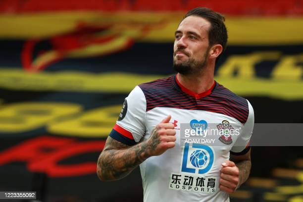 Southampton's English striker Danny Ings celebrates scoring his second goal during the English Premier League football match between Watford and...
