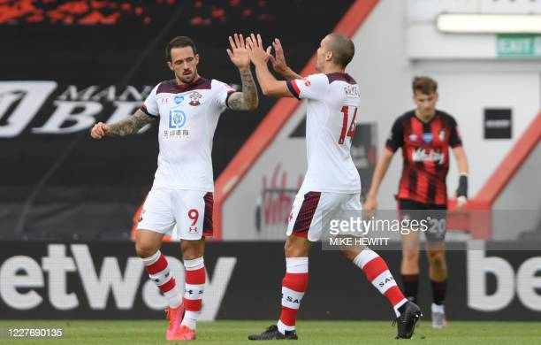 Southampton's English striker Danny Ings celebrates scoring his team's first goal during the English Premier League football match between...
