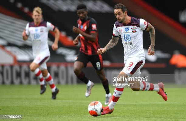 Southampton's English striker Danny Ings runs with the ball during the English Premier League football match between Bournemouth and Southampton at...