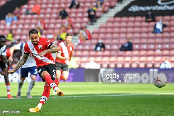 Southampton's English striker Danny Ings scores their second goal from the penalty spot during the English Premier League football match between...