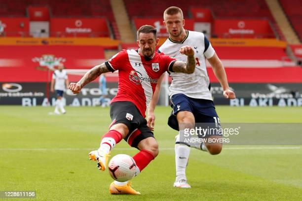 Southampton's English striker Danny Ings shoots the score the opening goal of the English Premier League football match between Southampton and...