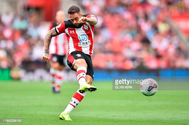 Southampton's English striker Danny Ings takes a shot but doesn't score during the English Premier League football match between Southampton and...