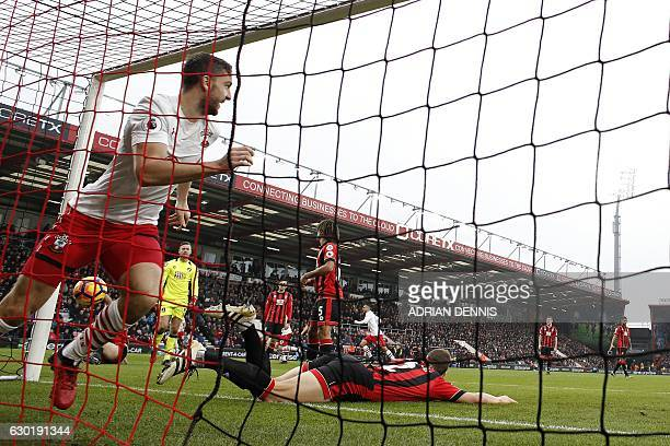 Southampton's English striker Jay Rodriguez celebrates scoring his team's second goal during the English Premier League football match between...