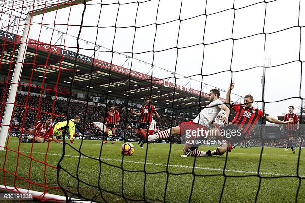 Southampton's English striker Jay Rodriguez scores his team's second goal during the English Premier League football match between Bournemouth and...