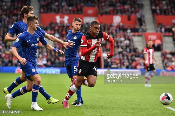 Southampton's French defender Yan Valery runs through the Chelsea defence to set up their first goal during the English Premier League football match...