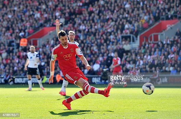 Southampton's French midfielder Morgan Schneiderlin scores the opening goal during the English Premier League football match between Southampton and...