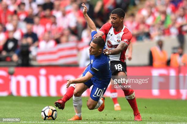 Southampton's Gabonese midfielder Mario Lemina fouls Chelsea's Belgian midfielder Eden Hazard during the English FA Cup semifinal football match...