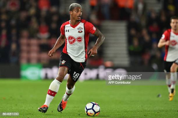 Southampton's Gabonese midfielder Mario Lemina runs with the ball during the English Premier League football match between Southampton and West...
