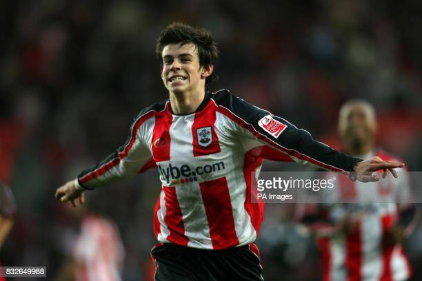 Southampton's Gareth Bale celebrates scoring against Norwich City during the Coca-Cola Championship match at St Mary's Stadium, Southampton.